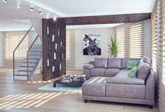 Living room interior. Modern living room interior. contemporary 3d concept Royalty Free Stock Photography