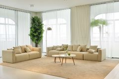 Living room interior of modern home. Living room interior for modern home soft sofa on carpet royalty free stock image