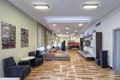 Living room interior in modern house. Russia Moscow - Modern interior design living room, urban real estate Stock Photo