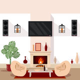 Living Room Interior. Modern Interior with TV and Fireplace Royalty Free Stock Image