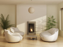 Living room. Interior of modern living room with leather furniture Royalty Free Stock Image