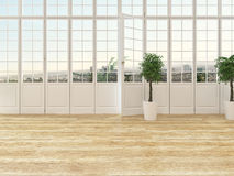 Living room interior with a panoramic view window Royalty Free Stock Photos