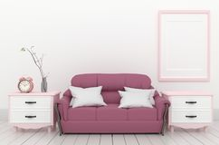 Living Room Interior - Pink elegant style with fame sofa clock and plant, white wood floor on empty white wall. 3D rendering vector illustration
