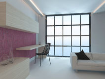 Living room interior with pink wall and floor to ceiling window Royalty Free Stock Photos
