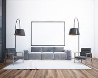 Living room interior, poster and sofa vector illustration