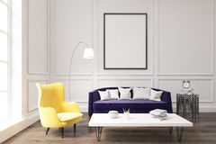 Living room interior with purple sofa Royalty Free Stock Images