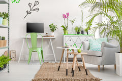 Living room interior with rack with flower pots Royalty Free Stock Photo