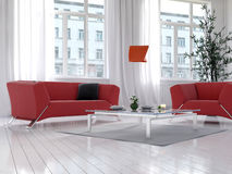 Living room interior with red couch and floor lamp Royalty Free Stock Photography