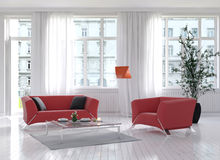Living room interior with red couch and floor lamp Royalty Free Stock Image