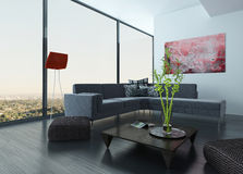 Living Room Interior with red wall and carpet Stock Photo