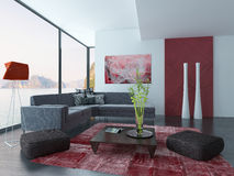 Living Room Interior with red wall and carpet. Image of Living Room Interior with red wall and carpet Royalty Free Stock Photography