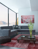 Living Room Interior with red wall and carpet Royalty Free Stock Photography
