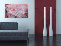 Living Room Interior with red wall and carpet Royalty Free Stock Image