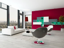 Living room interior with red wall and modern furniture Royalty Free Stock Photography