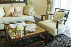 Living room interior with set of elegant teacup Stock Photography