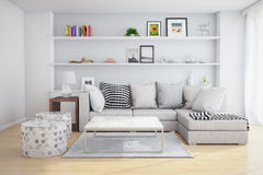 Living room. Interior of a living room with shelves and sofa with pillows stock photos