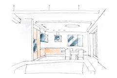 living room interior sketch Stock Photography