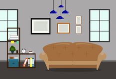 Living room interior with sofa,bookcase and picture frame on wall. Design flat indoor home Royalty Free Stock Photography
