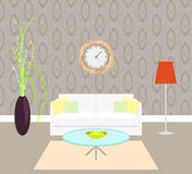 Living room interior with sofa and lamp on the. Living room interior sofa with pillows and lamp on the floor, vase with plant and clock on the wall, modern Royalty Free Stock Image