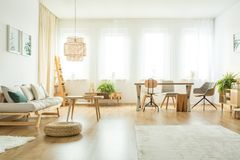 Living room interior with tables. Pouf next to beige sofa with pillows in bright living room interior with tables, chairs and ferns stock photo