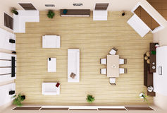 Living room interior top view 3d render Royalty Free Stock Images