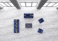 Living room interior top view 3d render Royalty Free Stock Photos