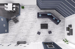 Living room interior top view 3d render Stock Images