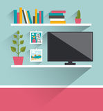 Living room interior. Tv and book shelves. Royalty Free Stock Photo