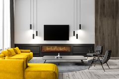 Living room interior with tv. Modern living room interior with white walls, wooden floor, yellow sofa, two black armchairs and tv set hanging above a fireplace stock illustration