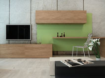 Living room interior with TV rack and cabinet Royalty Free Stock Photography