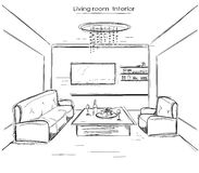 Living room interior.Vector black hand drawing illustration Royalty Free Stock Images
