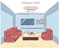Living room interior.Vector color hand drawing illustration Stock Images
