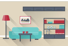 Living room Interior. Vector. Interior of colorful living room in flat design with long shadows. Vector illustration Stock Photo