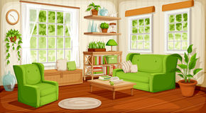 Living room interior. Vector illustration. Vector cozy living room interior with big windows, sofa, armchair and houseplants stock illustration