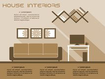 Living room interior vector infographic template Stock Images