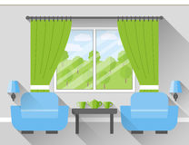 Living room Interior. Vector. Interior of living room with window and two armchairs. Vector illustration in flat design with long shadows Stock Images