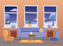 Living room interior. Violet sofa with table, nightstand, paintings, lamps, vase, carpet, porcelain set, soft chairs in royalty free illustration