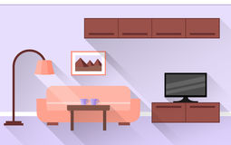 Living room Interior in violet. Vector. Stock Photos