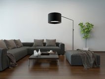 Living room interior w. gray couch and floor lamp Stock Photos