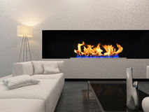 Living room interior with white couch and fireplace Royalty Free Stock Image