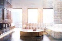 Living room interior, white sofa, TV set toned Stock Image
