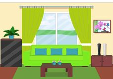 Living room interior with window in green colors. Vector illustration. Stock Image