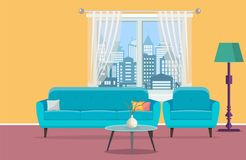 Living room interior with window. Furniture sofa, table, lamps. Vector illustration in flat style Royalty Free Stock Images