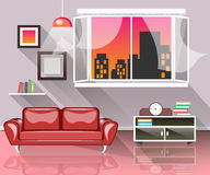 Living room interior with window. Interior of the room with a red sofa royalty free illustration