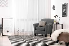 Free Living Room Interior With Modern Lamp On Table Royalty Free Stock Image - 113190606