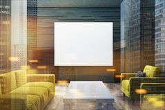 Black living room, yellow sofas, poster double Royalty Free Stock Photo