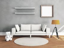 Living room interior with wooden floor. Living room interior with toy on hardwood floor. 3D illustration Royalty Free Stock Image