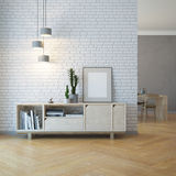 Living room interior with wooden sideboard Royalty Free Stock Image