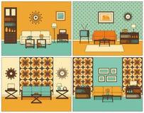 Living room interiors. Retro linear vector illustration.