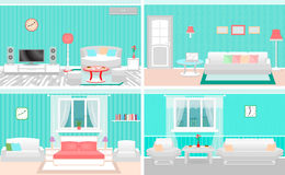 Living room interiors set. Bedroom and hall design with furniture. Fully editable. Stock Images